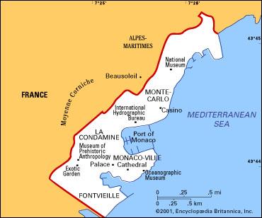 Monaco On Map Of France.Monaco